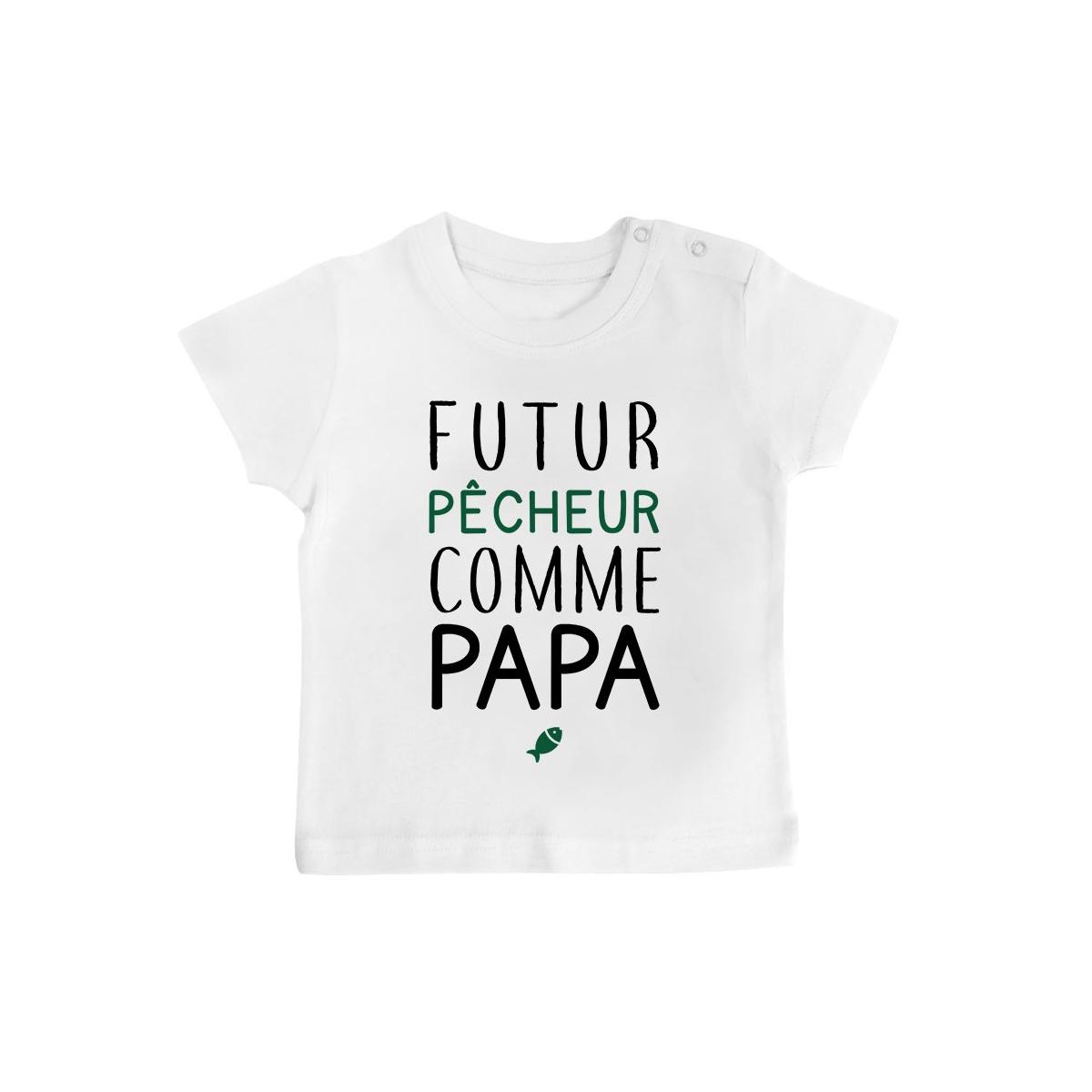 T-Shirt bébé Futur pêcheur comme papa