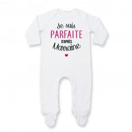 Pyjama bébé Je suis parfaite d'après marraine