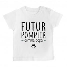T-Shirt bébé Futur pompier comme papa