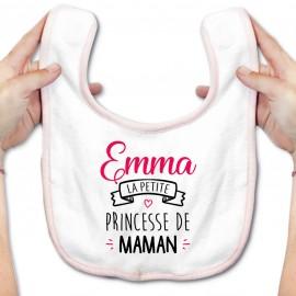 """Bavoir bébé personnalisé """" Prénom """" la petite princesse de maman"""