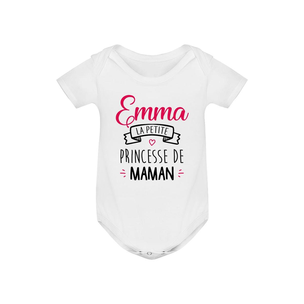 """Body bébé personnalisé """" Prénom """" la petite princesse de maman"""