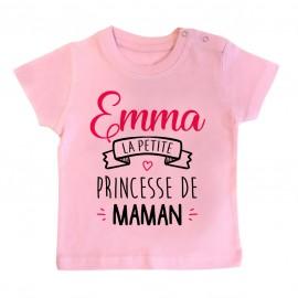 """T-shirt bébé personnalisé """" Prénom """" la petite princesse de maman"""