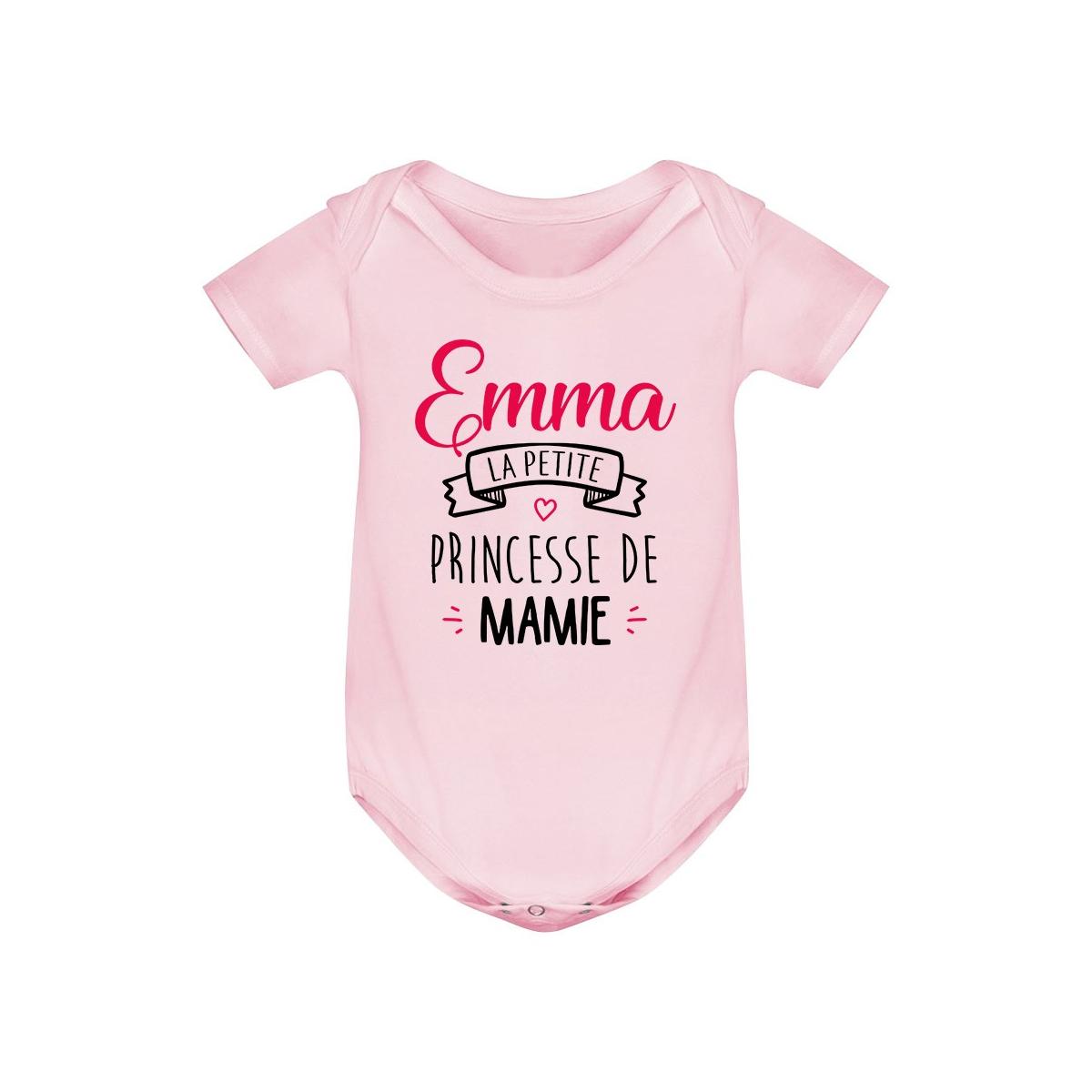 """Body bébé personnalisé """" Prénom """" la petite princesse de mamie"""