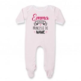 "Pyjama bébé personnalisé "" Prénom "" la petite princesse de mamie"