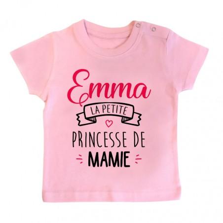 """T-shirt bébé personnalisé """" Prénom """" la petite princesse de mamie"""