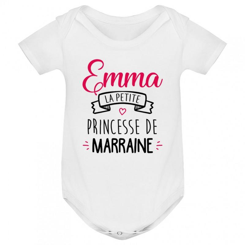 """Body bébé personnalisé """" Prénom """" la petite princesse de marraine"""