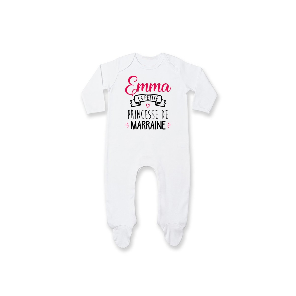 """Pyjama bébé personnalisé """" Prénom """" la petite princesse de marraine"""