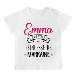 """T-shirt bébé personnalisé """" Prénom """" la petite princesse de marraine"""