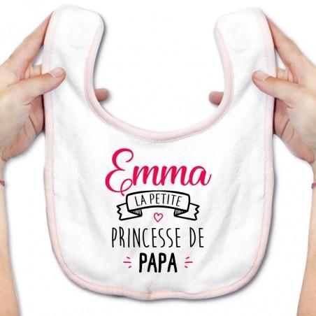 """Bavoir bébé personnalisé """" Prénom """" la petite princesse de papa"""