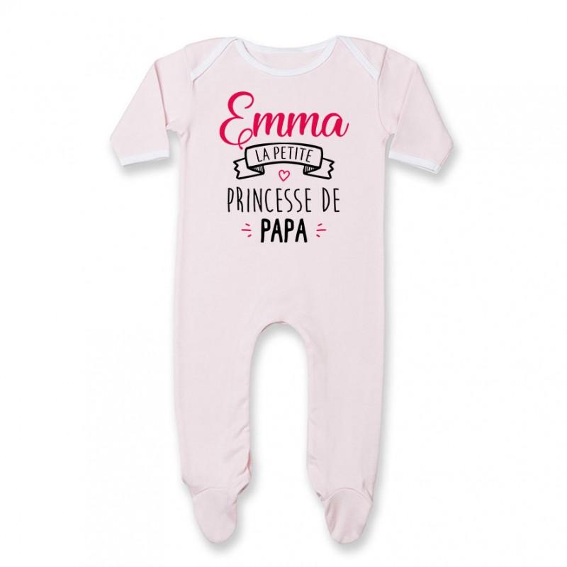 "Pyjama bébé personnalisé "" Prénom "" la petite princesse de papa"