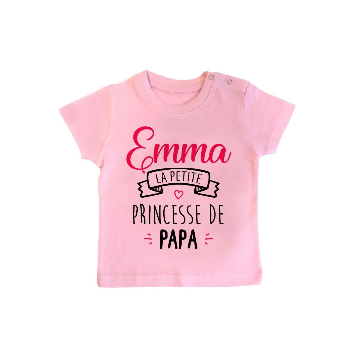 """T-shirt bébé personnalisé """" Prénom """" la petite princesse de papa"""