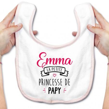 """Bavoir bébé personnalisé """" Prénom """" la petite princesse de papy"""
