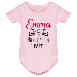 """Body bébé personnalisé """" Prénom """" la petite princesse de papy"""