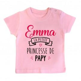 """T-shirt bébé personnalisé """" Prénom """" la petite princesse de papy"""
