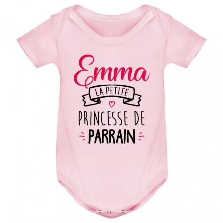 """Body bébé personnalisé """" Prénom """" la petite princesse de parrain"""