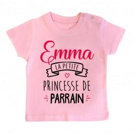 """T-shirt bébé personnalisé """" Prénom """" la petite princesse de parrain"""