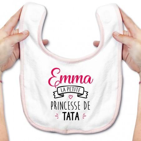 """Bavoir bébé personnalisé """" Prénom """" la petite princesse de tata"""