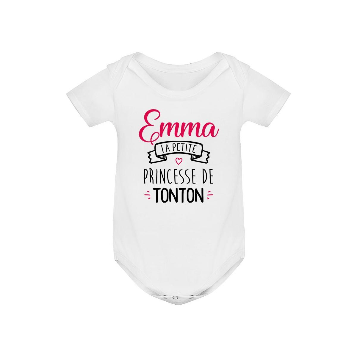 """Body bébé personnalisé """" Prénom """" la petite princesse de tonton"""