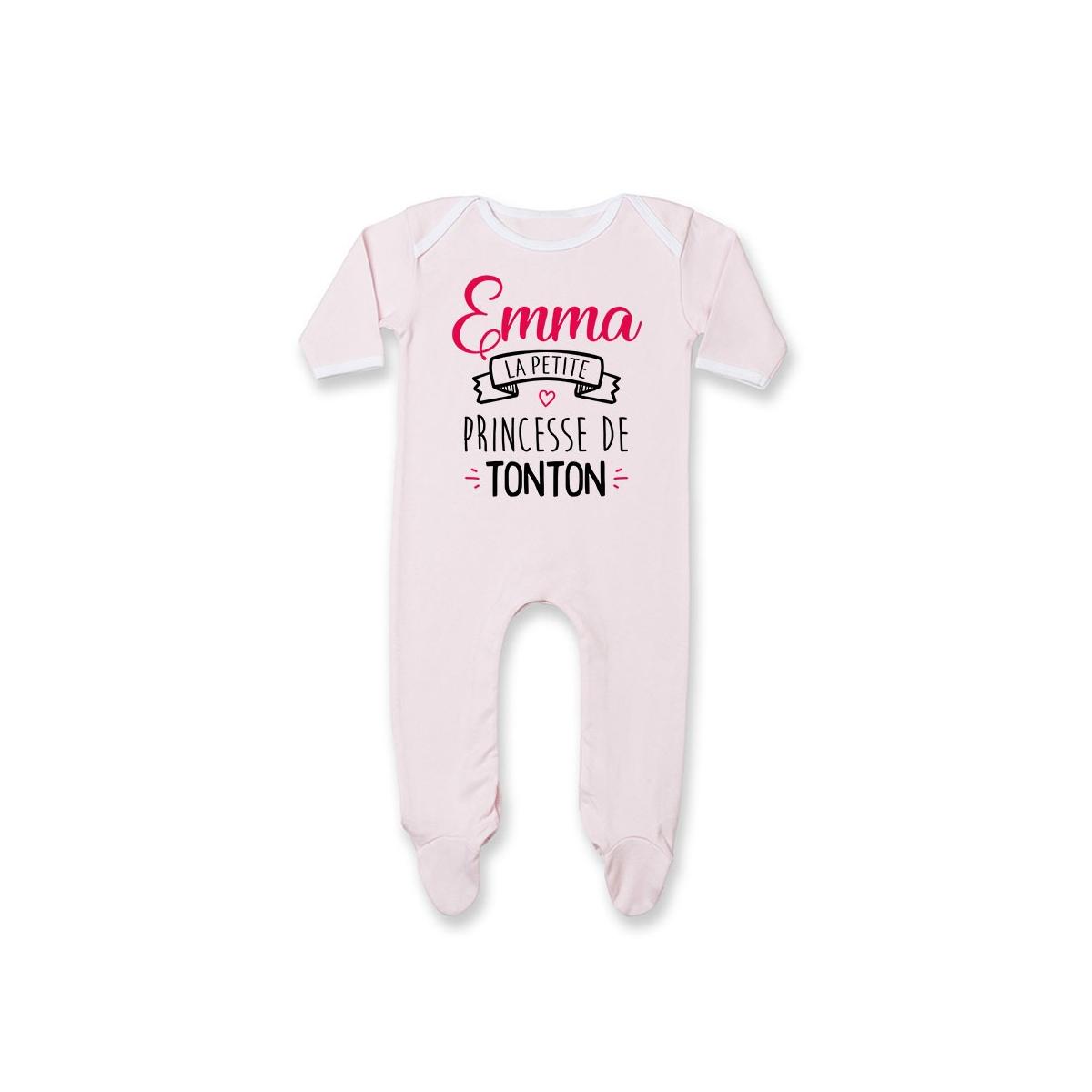 """Pyjama bébé personnalisé """" Prénom """" la petite princesse de tonton"""