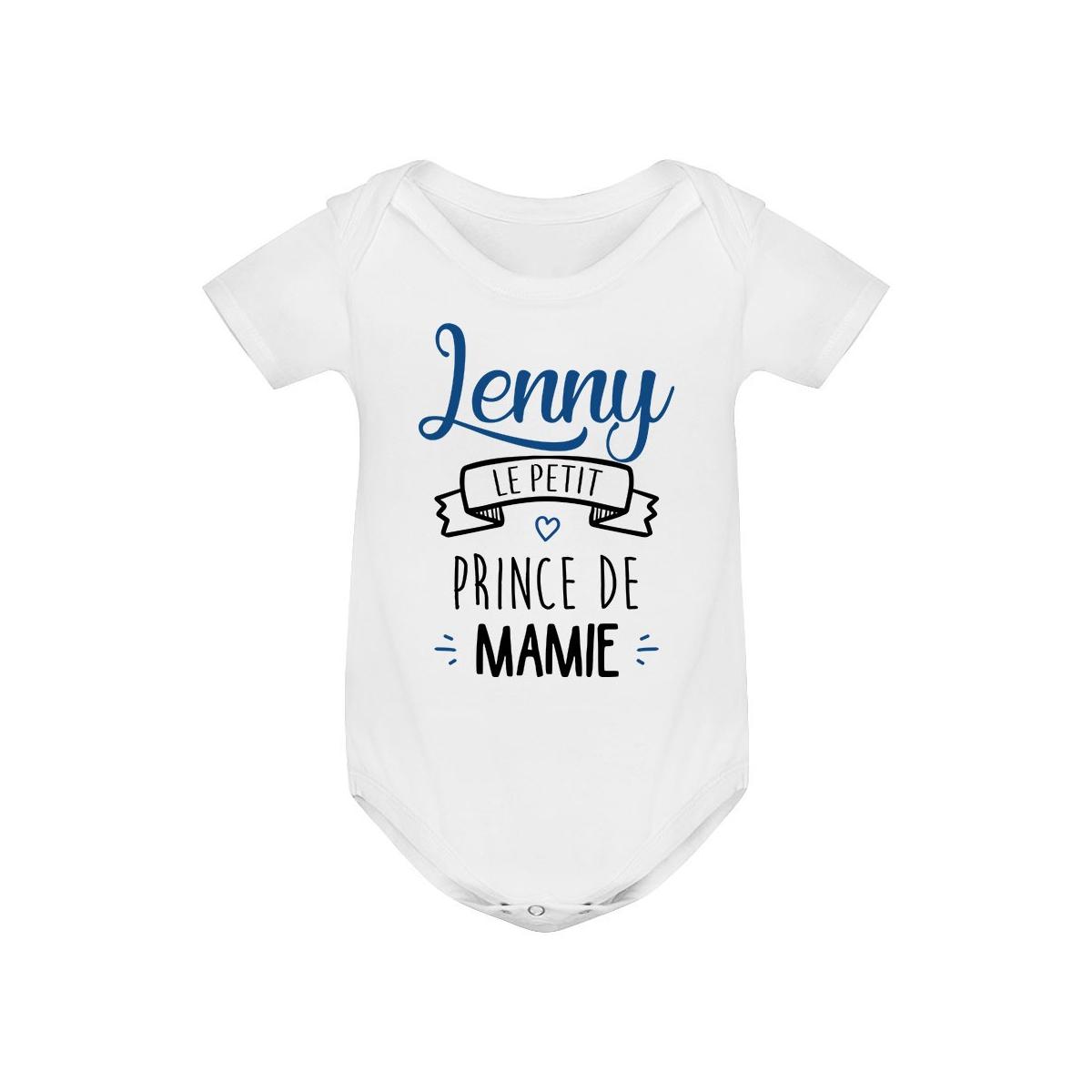 """Body bébé personnalisé """" prénom """" le petit prince de mamie"""