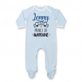 "Pyjama bébé personnalisé "" prénom "" le petit prince de marraine"