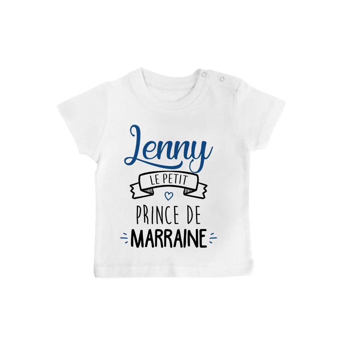 """T-shirt bébé personnalisé """" prénom """" le petit prince de marraine"""