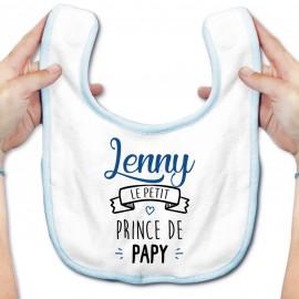 """Bavoir bébé personnalisé """" prénom """" le petit prince de papy"""