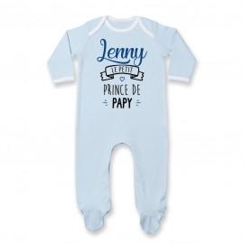 """Pyjama bébé personnalisé """" prénom """" le petit prince de papy"""