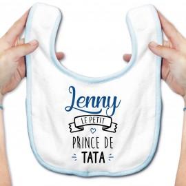 """Bavoir bébé personnalisé """" prénom """" le petit prince de tata"""