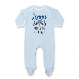 """Pyjama bébé personnalisé """" prénom """" le petit prince de tata"""