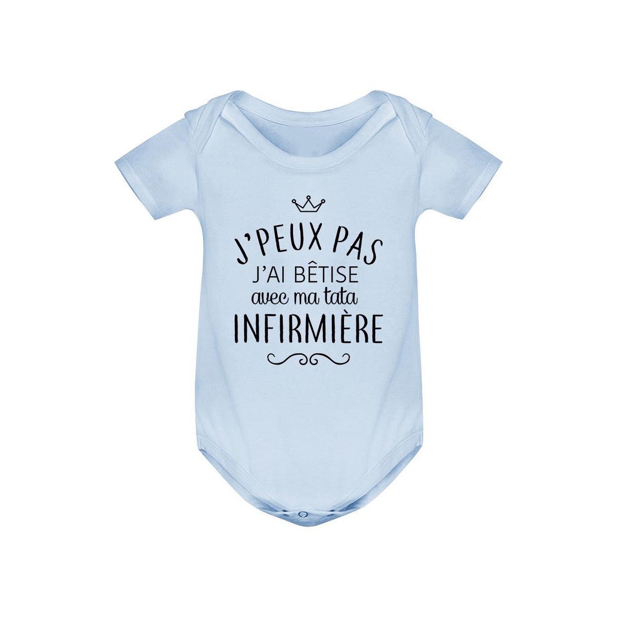 """Body bébé personnalisé J'peux pas j'ai bêtise avec ma tata """" métier """""""