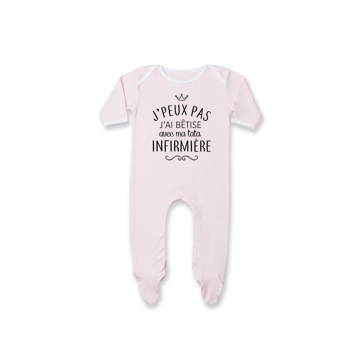 """Pyjama bébé personnalisé J'peux pas j'ai bêtise avec ma tata """" métier """""""