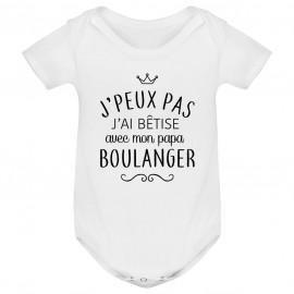 """Body bébé personnalisé J'peux pas j'ai bêtise avec mon papa """" métier """""""