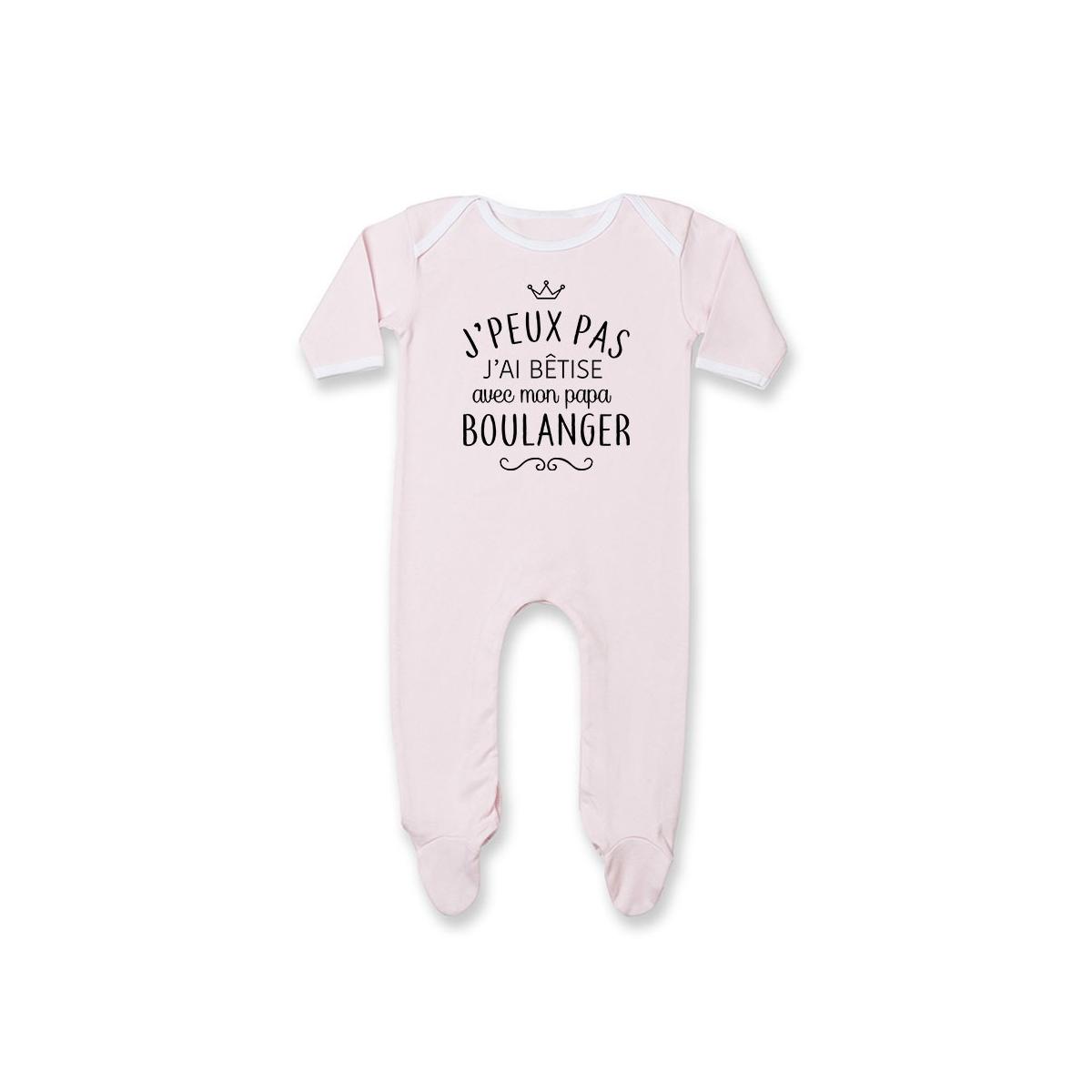 """Pyjama bébé personnalisé J'peux pas j'ai bêtise avec mon papa """" métier """""""