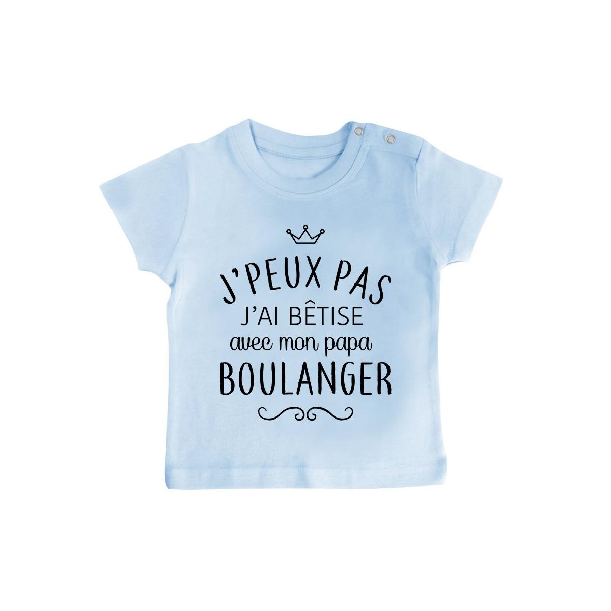 """T-shirt bébé personnalisé J'peux pas j'ai bêtise avec mon papa """" métier """""""