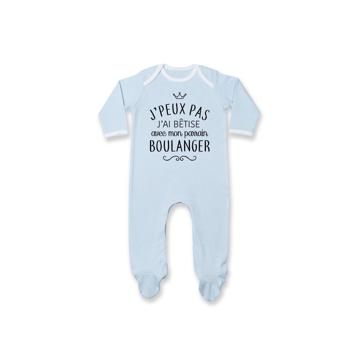 """Pyjama bébé personnalisé J'peux pas j'ai bêtise avec mon parrain """" métier """""""
