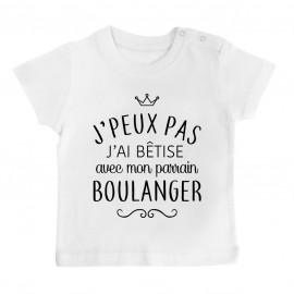 """T-shirt bébé personnalisé J'peux pas j'ai bêtise avec mon parrain """" métier """""""
