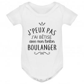 """Body bébé personnalisé J'peux pas j'ai bêtise avec mon tonton """" métier """""""