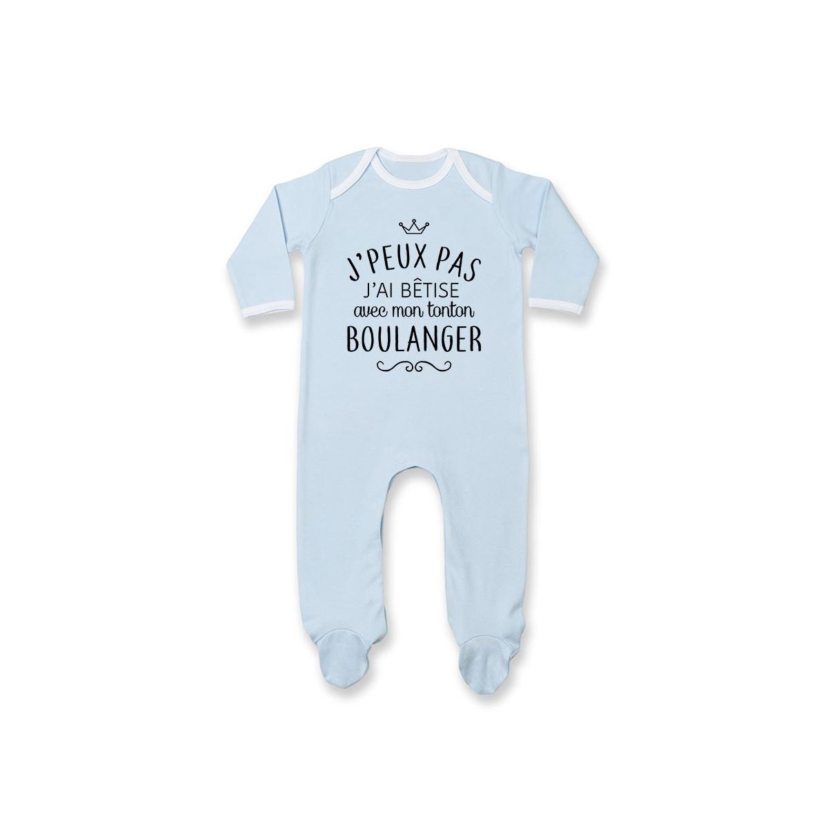 """Pyjama bébé personnalisé J'peux pas j'ai bêtise avec mon tonton """" métier """""""