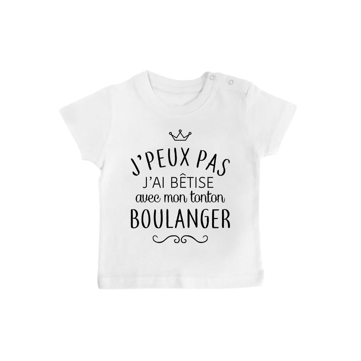 """T-shirt bébé personnalisé J'peux pas j'ai bêtise avec mon tonton """" métier """""""