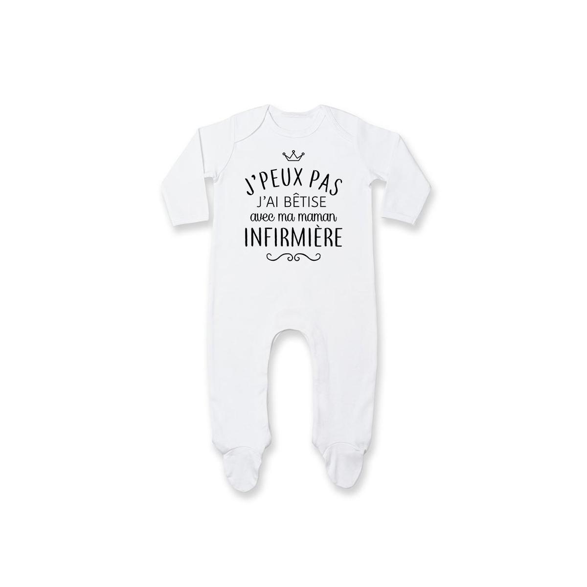 """Pyjama bébé personnalisé J'peux pas j'ai bêtise avec ma maman """" métier """""""