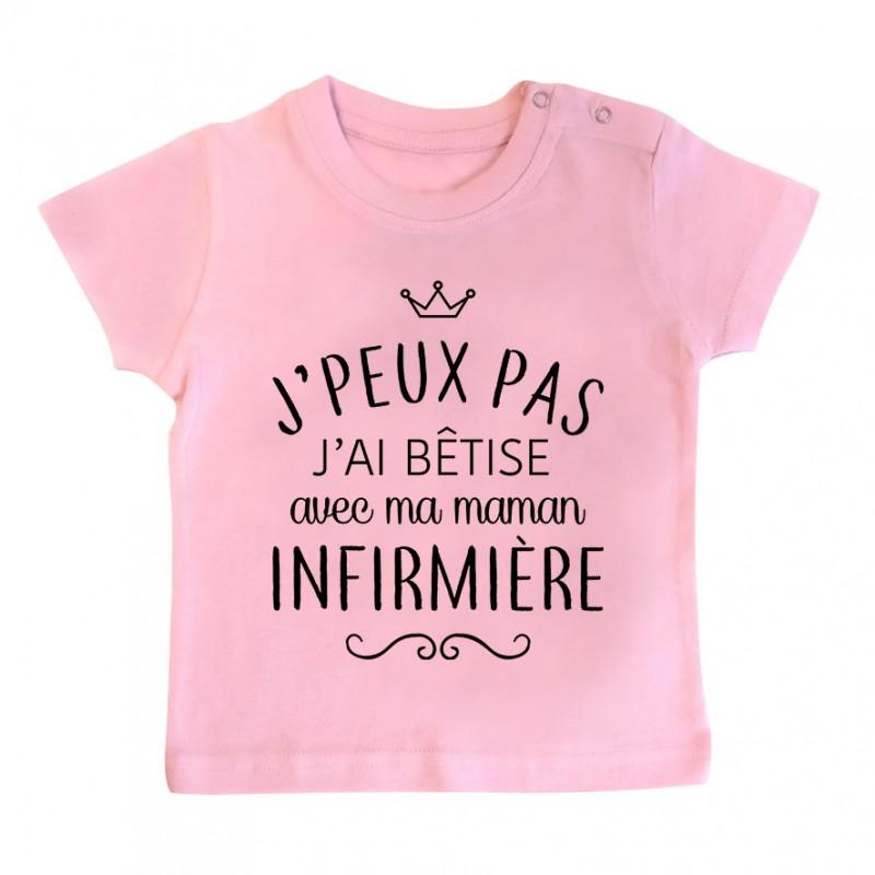 """T-shirt bébé personnalisé J'peux pas j'ai bêtise avec ma maman """" métier """""""