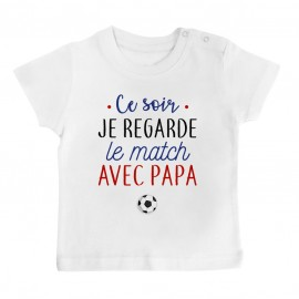 T-Shirt bébé Je regarde le foot avec papa
