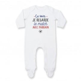 Pyjama bébé Je regarde le foot avec parrain