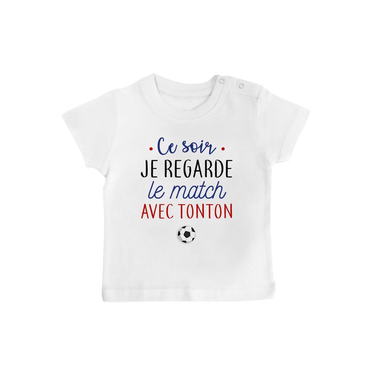 T-Shirt bébé Je regarde le foot avec tonton