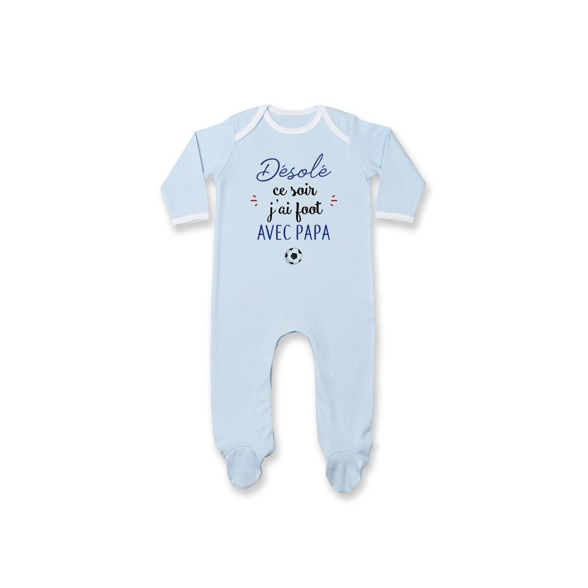 Pyjama bébé Désolé ce soir j'ai foot avec papa