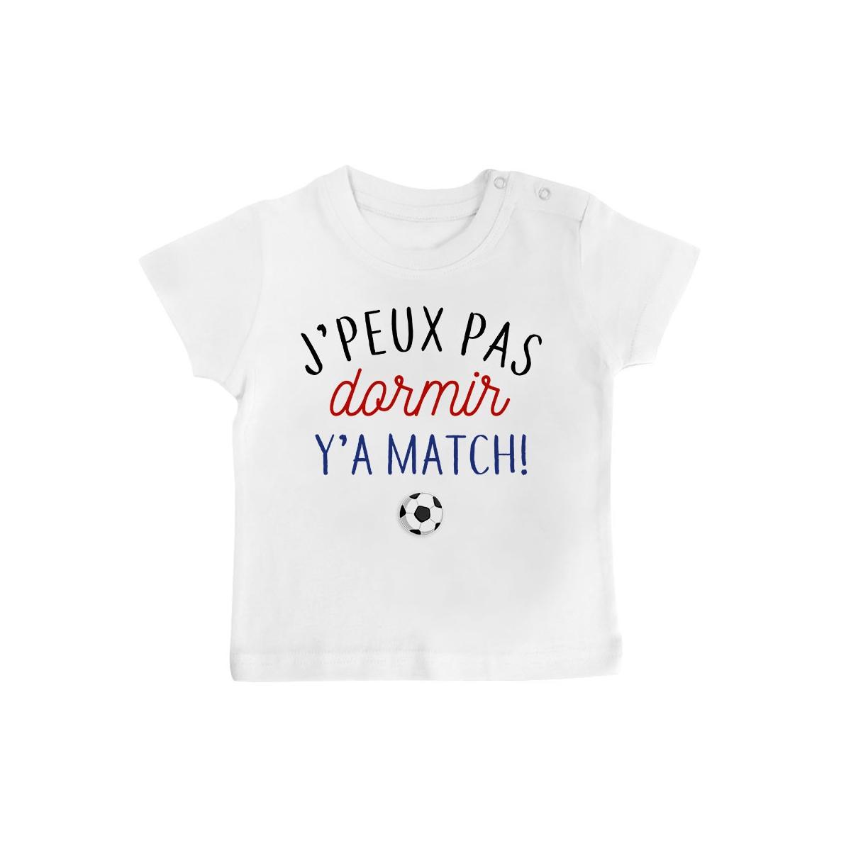 T-Shirt bébé J'peux pas dormir y'a match