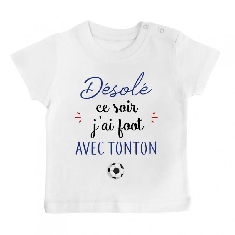 T-Shirt bébé Désolé ce soir j'ai foot avec tonton