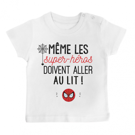 T-shirt bébé Au lit! Spiderman