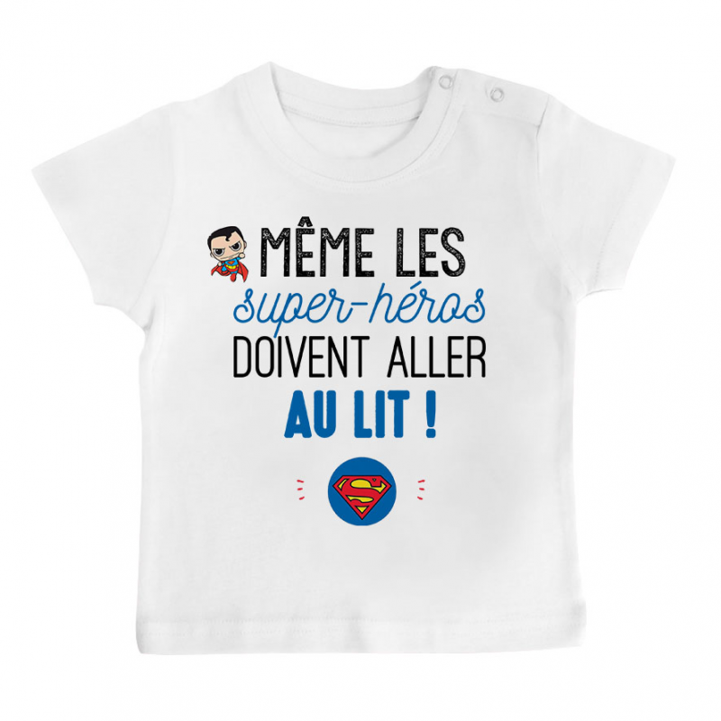 T-shirt bébé Au lit! Superman